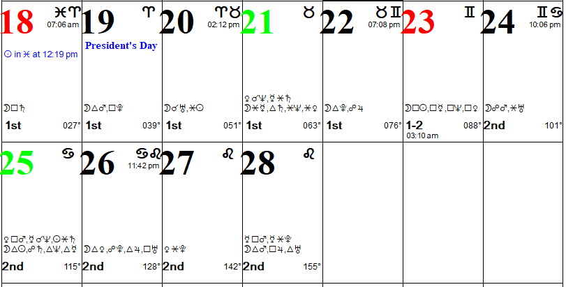 Professional Astrological Calendar