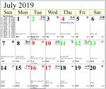 Professional Astrological Calendar July2019
