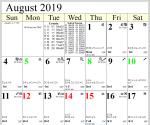 Professional Astrological Calendar August2019