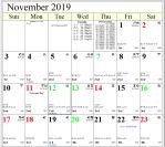 Professional Astrological Calendar November2019