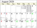 Professional Astrological Calendar August2020.